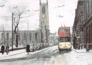 Painting of Huddersfield trolly bus and church